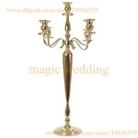 "Wholesale Wholesale Crystal Tall Candle Holders - 39"" tall 5 Arm Candelabra Metal Crystal Prisms Victorian Paris Candlestick in Soft Gold And Silver"