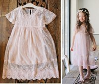 Wholesale Embroidered Tank Dress - Lace Girls Dress Summer Lace Embroidered Short Sleeve Princess Dresses + Spaghetti Strap Tank Tops Korean Children Elegant Dress C1155