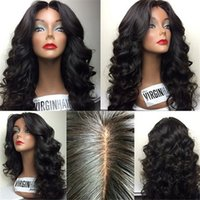 Wholesale Dyed Hair Wigs - Beutitful body wave africa american peruvian hair glueless silk top full lace wigs with baby hairs lace front wigs can be dyed