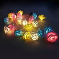 Wholesale Valentine Garland - Wholesale- New 20 LED String Lights Rose Flower Holiday Decoration Lamp For Christmas Valentine Wedding Party Garland Lighting #239761