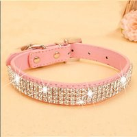 Wholesale Personalized Dog Cat Pet Collar BLING PU Leather Rhinestone Diamante