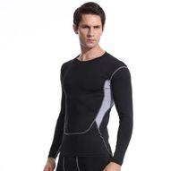 мужские рубашки оптовых-Мужские спортивные повседневные лосины черные короткие-рукав t-рубашка Bodywear износ йоги
