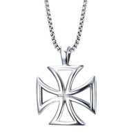 Wholesale Knights Cross - Mens Necklace Stainless Steel Vintage Hollow Maltese Iron Cross Pendant Necklace Knights Templar Cross Fashion Jewelry PN-722