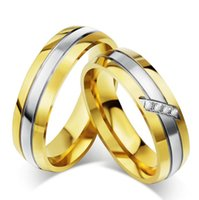 Wholesale Ring Wedding Pair Gold - 1 pair Fashion Jewelry 316L Stainless Steel gold rings Simple Circle Couple Rings,Wedding Ring,Engagement Rings BR003
