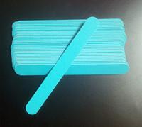 Wholesale Nail Chips - 50pcs 100 180 Nail Files Wood Chips Nail Art File Nails Polish Tools Nail Accessories Blue Color Sanding File Buffer Block