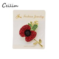 Wholesale Flower Memorial - 3 Style Luxury Stunning Bright Red Crystals UK Fashion Poppy Brooch Popular Enamelled Elegant Poppy Flower Brooches Pin For UK Memorial Day