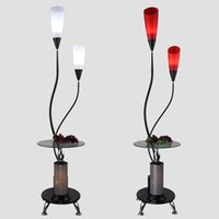Wholesale Glass Table Lamps Bedroom - Modern Tea Table Lamp LED Floor Lamp Bedroom Living Room Floor Lamps Floor Lamp with Glass Tray Table Decorative Lighting