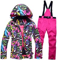 Wholesale Cheap Brown Jackets - New Cheap Snow custome Women Ski suit sets snowboard Clothing waterproof & windproof winter -30 warm Snow jacket + Bib pants