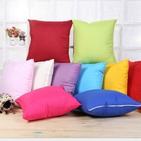 Wholesale Pure Bedding - 45cm Home Decor Pillow Case Sofa Pillowcase Square Fashion Solid Candy Color Throw Pillow Cushion Cover Pure Bed Car Christmas Decorations