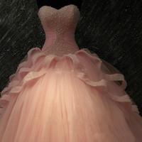 vestido de quinceañera fucsia oscuro al por mayor-Rebordear perlas Vestido de fiesta de tul rosa Vestidos de quincena con blusa de cuentas Sweetheart Sweet 16 Vestido de fiesta Vestido de quinceañera Concurso formal