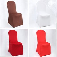 Wholesale Wholesale White Spandex Chair Cover - Universal White Spandex Wedding Party Chair Covers White Spandex Lycra Chair Cover for Wedding Party Banquet Many Color