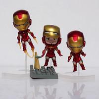 Wholesale Iron Man Cute Model - The Avengers Cute Q Iron Man Toy Figure Mark 7 Tony Stark Set PVC Action Figures Collection Model Toys Nendoroid Free Shipping