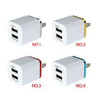 Wholesale Dual 1a Usb Phone Charger - Top Quality 5V 2.1+1A Double USB AC Travel US Wall Charger Plug Dual Charger For Samsung Galaxy HTC Smart Phone Adapter