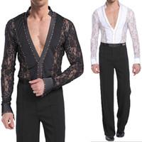 Wholesale Hot Latin Men - Hot Sale Men Latin Dance Costumes Latin Dance Suit Long Sleeves Shirts Trousers Fancy Latin Dance Set Tops+Pants UA0199