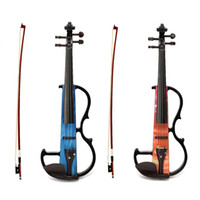 Wholesale Electro Acoustic - Wholesale-Portable Full Size 4 4 Natural Electro-acoustic Violin Fiddle with Bow Rosin String Carry Case Shoulder Rest Acoustic Violin Set