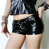 Wholesale Leather Shorts Elastic Waist - 2017 Women Faux Leather Shorts Summer Fashion Belt Detail Sexy Super Split Zipper Short Pants Silky Black Dancer Shorts S1280