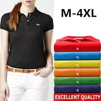 Wholesale Polo Style Shirts - High quality brand women polo shirt summer style casual Crocodile Embroidery cotton Women's polo shirt polo High quality Women's polos New