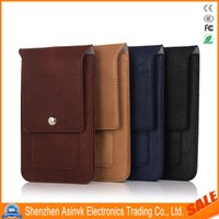 Wholesale Brown Belt Snap - 6.3inch Pouch Waist Bag Phone case Magnetic Snap Closure Universal Mobile Phone Belt Holster Clip PU Leather Cover