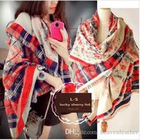 Wholesale Large Wool Pashmina - Free shipping new winter small fragrant wind C home Titan large square striped gradient wool scarf shawl 200*60cm size