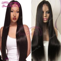Wholesale Unprocessed Virgin Human Hair Wigs - Stocking 8A quality natural color virgin malaysian hair unprocessed human hair front lace wig free shipping