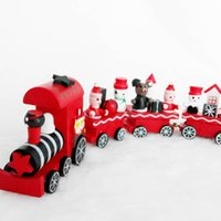 Wholesale 20cm Wood Christmas Train Toy Decoration Decor Gift Onarment Xmas Gift Santa Clause Snowman Toys For Kids