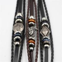 braune manschetten großhandel-Vintage Herren Lederarmband Manschette braun schwarz Paracord Armband Frauen Manschette Armband Schmuck Zubehör acc243