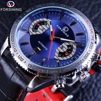 Wholesale Race Timing Clock - Forsining Racing Design Blue Dial Display Fast Speed Racing Leather Mens Automatic Watch Top Brand Luxury Mechanical Clock