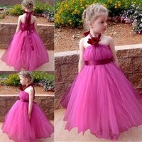 Wholesale Simple Flower Dresses Kids - Simple Halter Flower Girl Dresses Fushia Tulle Long Flower Girl Gowns With Ribbon Sash Wedding Baby Party Dress Cheap Kids Formal Wear