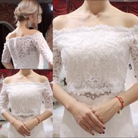 Wholesale Custom Made Bolero Jackets - Bridal Wraps SexyLace Bolero Jacket Illusion Half Sleeve Off The Shoulder Jackets Bridal Shrug Bride Wraps Wedding Jacket Bridal Accessories
