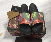 Wholesale Best Men Slippers - Fashion G G slide sandals slippers for men and women WITH BOX BEST QUALITY brand Designer flower printed beach flip flops slippers EURO36-44