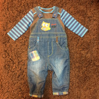 Wholesale Boy Suspender Romper Long Sleeve - Winter Infant Boys Sets Pieces Jeans Animal Pattern Suspender Trousers+Long Sleeve Cotton Romper Baby Children Clothing
