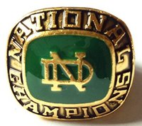 Wholesale Solid Gold Man Ring - High Quality NCAA 1977 Notre Dame Championship Ring solid souvenir Men Christmas Gift Free Shipping