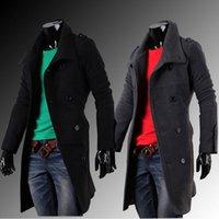 Wholesale Woolen Fleece Double Breasted Coat - Wholesale- Hot winter men woolen coats fashion double-breasted winter outwear overcoat Black Gray M L XL XXL