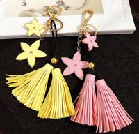 Wholesale Metal Handmade Car - Creative Metal flower key chain Fashion PU tassel car bag key chains pendant 6 colors handmade