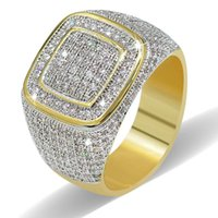 Wholesale Micro Setting Ring - Copper Cubic Zirconia Rings Men's Hip Hop Iced Out Bling Micro pave CZ Ring Gold plated Punk Jewelry High Grade Handmade Engagement Ring