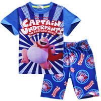 Trendy Captain Underpants Pyjama pour enfants Short Sleeve 2pcs Set Cartoon Digital Print Quality Pyjama pour enfants Cotton Birthday Gifts
