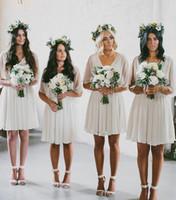 Wholesale Mini Chiffon Bridesmaid Dresses - Hot Selling Cheap 2017 Summer Flow Chiffon Short Beach Bridesmaid Dresses Bat Sleeves Boho Wedding Party Dress Under 50