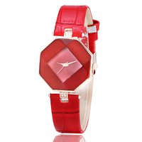 Wholesale Red Rhombus - New Fashion Korean version Watches For Women Luxury Colorful Leather Watch With Diamond Modern Rhombus Wristwatches Pin Buckle