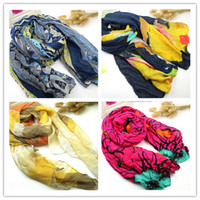 Wholesale Scarf Fashion Promotion - Promotion new pure linen fold super long big shawl women sexy fashion cheap multicolor punk scarf scarves wraps free shipping