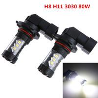 nebelscheinwerfer für autos großhandel-2 stücke H8 H11 80 Watt LED Nebel Fahren Auto Scheinwerfer Lampe Super Weiß 6500 Karat CLT_08B
