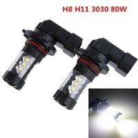 phares antibrouillard pour voitures achat en gros de-2pcs H8 H11 80W LED brouillard conduite voiture tête lumières lampe ampoule super blanc 6500K CLT_08B