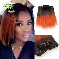 Wholesale wavy permed hair - Orange Ombre Human Hair Weave Brazilian Virgin Straight Weave b Bob Hair Weave Straight Wet And Wavy Virgin Brazilian Hair