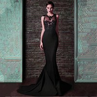 Wholesale charming elegant sexy lace backless mermaid resale online - Elegant Black Satin Jewel Neckline Mermaid Evening Dress Charming Lace Appliques Prom Party Dresses Illusion Evening Gowns