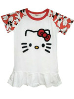 Wholesale Kitty Shorts - New Girl Hello Kitty Cartoon Pattern Red Round Neck And Color Short Sleeves Fashion Simple Cute Cotton Baby Dress