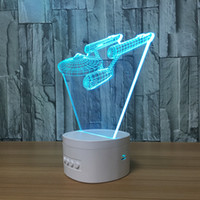 3D USS ENTERPRISE LED Illusion Lâmpada Bluetooth Speaker com 5 luzes RGB TF Card Slot CC 5V USB de carregamento Atacado Dropshipping