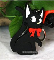 Wholesale Services Animals - Hot Cute kitten sided Silicone Keychain Kiki's Delivery Service jiji the cat Keychain Cartoon Keyring with Retail Package