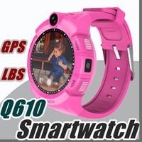 Wholesale Gps Gsm Gprs Watch - 2017 Q610 Smart Watch Children Kid Wristwatch GSM GPRS GPS Locator Tracker Anti-Lost Smartwatch Child Guard Touch Screen C1-BS