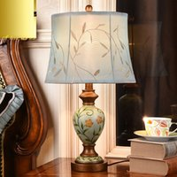 Wholesale Country Style Table Lamps - American Style Printing Bedroom Bedside Table light Loft Country Retro Living Room Office Desk Light Study Room Table Lamps