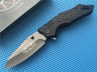 Wholesale Manual Clips - Microtech Select Fire Knife Manual Folder 440C steel black finish Clip Point manual action Fire-M pocket knives with traction inserts B88L