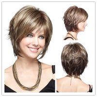 Wholesale Cheap Short Blonde Wigs - Xiu Zhi Mei Short Synthetic Hair Wigs Cheap Side Bang Blonde Wig for Black Women Heat Resistant Wig